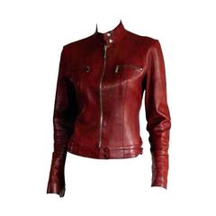 Free Shipping: Rare Tom Ford Gucci SS1999 Maroon Leather Runway Moto Jacket IT44