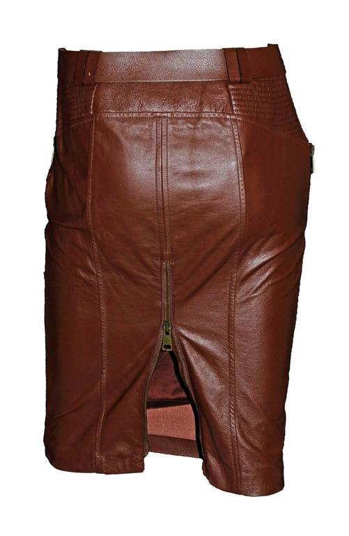 Free Shipping: Heavenly Tom Ford Gucci FW 2003 Brown Leather Skirt & Belt! IT 42 2