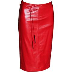 Free Shipping: Heavenly Tom Ford For Gucci FW 1997 Red Leather Skirt & Belt! 38