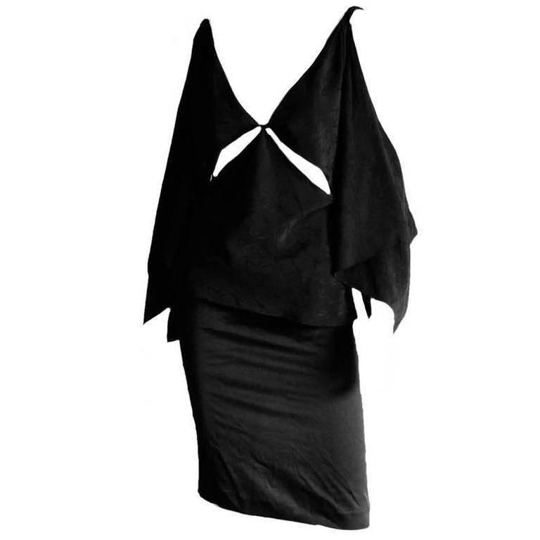 Amazing Tom Ford Gucci FW 2002 Black Silk Gothic Kimono Runway Top & Skirt! 40 1