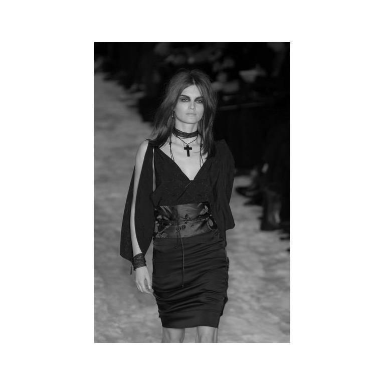 Amazing Tom Ford Gucci FW 2002 Black Silk Gothic Kimono Runway Top & Skirt! 40 5