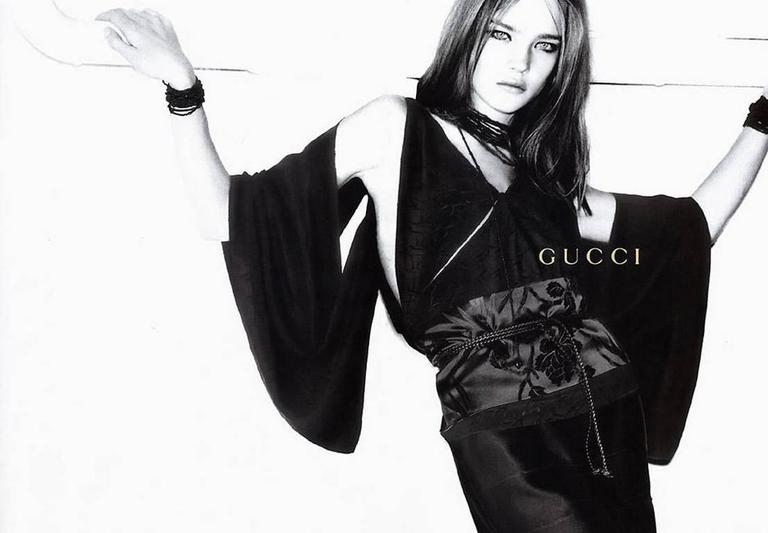 Amazing Tom Ford Gucci FW 2002 Black Silk Gothic Kimono Runway Top & Skirt! 40 4