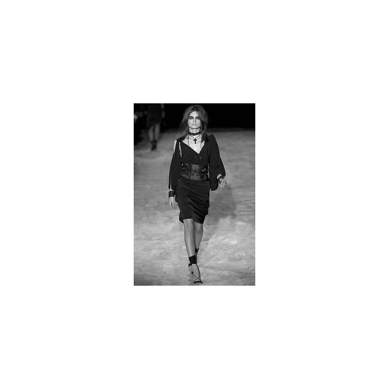 Amazing Tom Ford Gucci FW 2002 Black Silk Gothic Kimono Runway Top & Skirt! 40 7