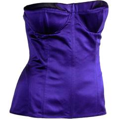 Rare & Iconic Tom Ford Gucci SS 2001 Electric Blue Silk Satin Corset Top! US 6-8