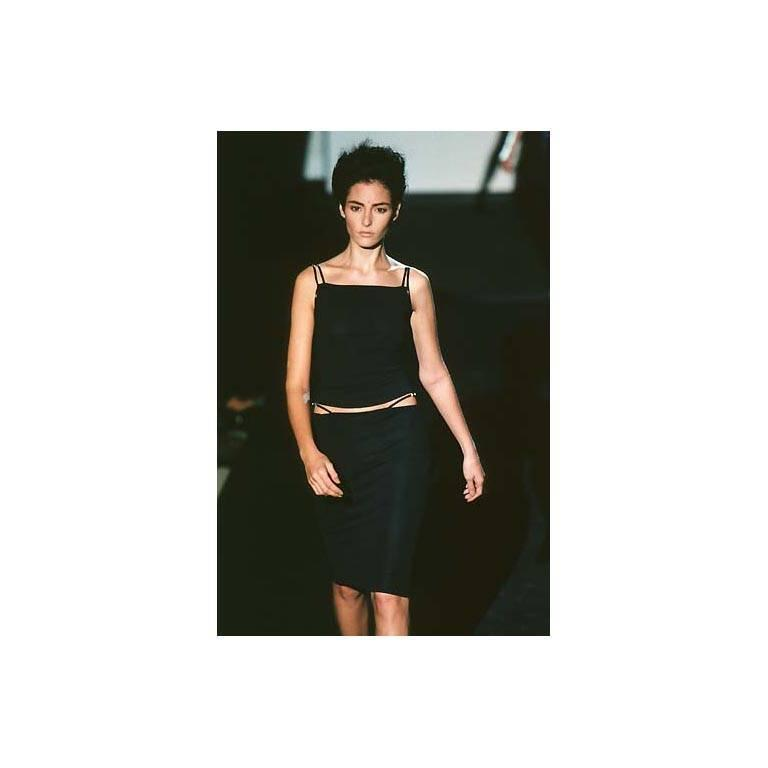 That Rare & Iconic Tom Ford Gucci SS 1998 Black Leather Trim Maxi Dress! IT40 4