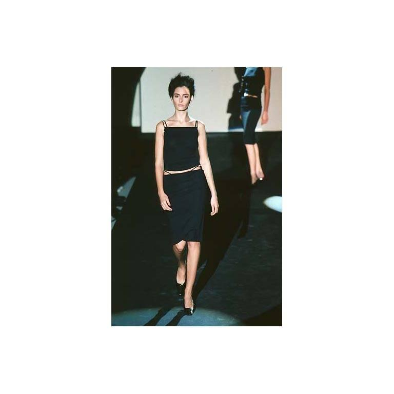 That Rare & Iconic Tom Ford Gucci SS 1998 Black Leather Trim Maxi Dress! IT40 6
