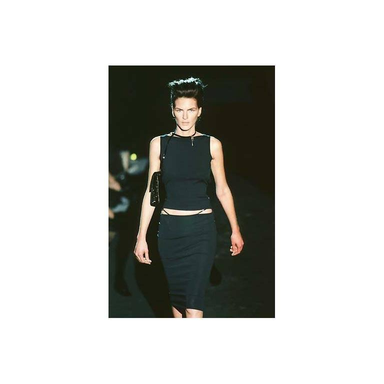 That Rare & Iconic Tom Ford Gucci SS 1998 Black Leather Trim Maxi Dress! IT40 3