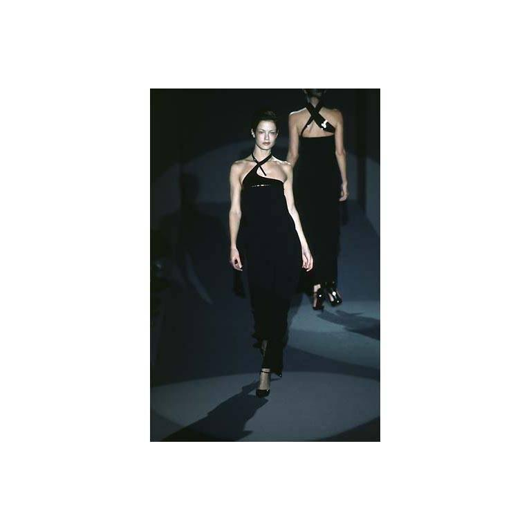 Authentic Rare & Iconic Tom Ford For Gucci FW 1997 Black Halter Maxi Dress! IT44 7