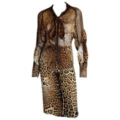 Iconic Tom Ford YSL Rive Gauche SS 2002 Silk Safari Runway Blouse & Skirt! FR 38
