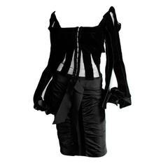Free Shipping:Tom Ford YSL Rive Gauche 2002 Silk Velvet Ribbon Blouse & Skirt 40