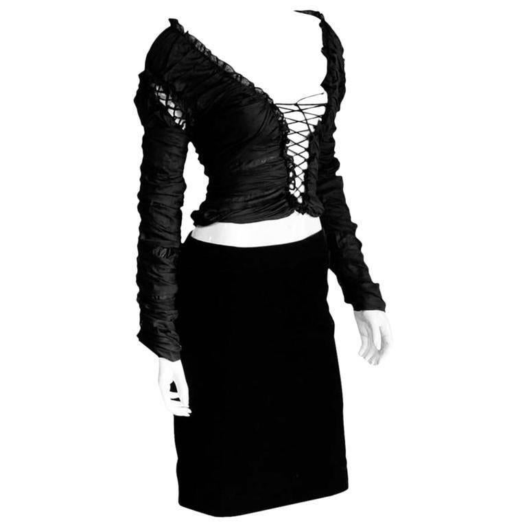 "Iconic Tom Ford For YSL Rive Gauche FW 2001 ""Mummy"" Runway Blouse & Skirt! FR 42 1"