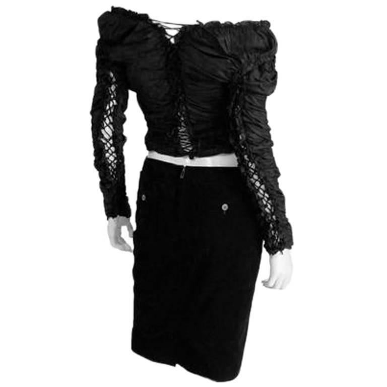 "Iconic Tom Ford For YSL Rive Gauche FW 2001 ""Mummy"" Runway Blouse & Skirt! FR 42 4"