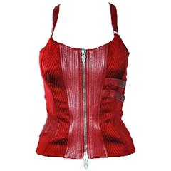Christina's Versace FW 2003 Red Silk & Leather Runway Ad Campaign Corset Top! 40