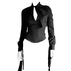 That Heavenly Tom Ford Gucci FW 2003 Collection Black Corseted LS Blouse! IT 42