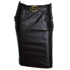 That Utterly Heavenly Tom Ford Gucci FW 2003 Brown Leather Skirt & Belt! IT 42