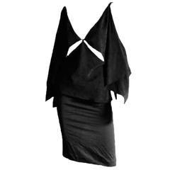 Amazing Tom Ford Gucci FW 2002 Black Silk Gothic Kimono Runway Top & Skirt! 44