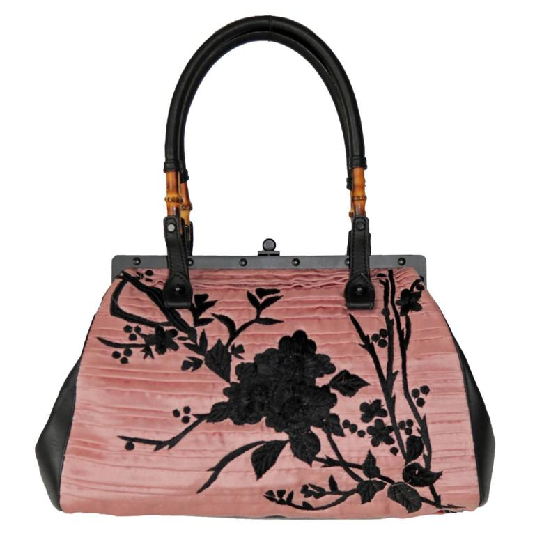0b44483057e7 Rare Tom Ford Gucci SS 2003 Large Pink   Black Embroidered Silk Chinoiserie  ...