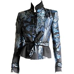 Heavenly Tom Ford YSL Rive Gauche FW 2004 Mink Trimmed Chinoiserie Jacket! FR 38