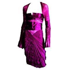 That Heavenly Tom Ford Gucci FW 2004 Fuchsia Pink Pleated Silk Runway Dress! 44