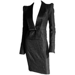 Rare Tom Ford YSL Rive Gauche FW 2004 Silk Chinoiserie Runway Jacket & Skirt! 36