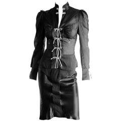 Rare Tom Ford YSL Rive Gauche FW 2004 Silk Chinoiserie Runway Blouse & Skirt! 34