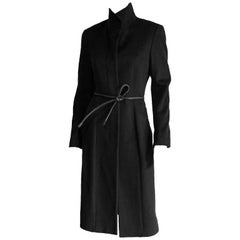 The Most Heavenly Tom Ford Gucci FW 1999 Black Cashmere Belted Runway Coat! 42