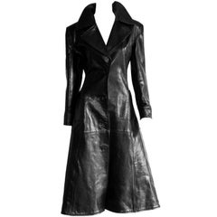 Free Shipping: Iconic Tom Ford Gucci FW 1996 Collection Black Leather Coat! IT44
