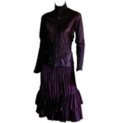 That Amazing Tom Ford YSL Rive Gauche 2001 Aubergine Silk Runway Skirt & Blouse!