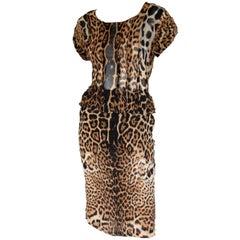 Iconic Tom Ford YSL Rive Gauche SS 2002 Silk Safari Runway Blouse & Skirt! FR 38