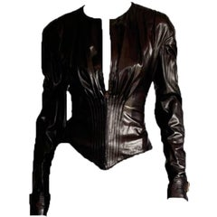 Absolutely Gorgeous Tom Ford Gucci FW 2003 Runway Leather Corseted Jacket! IT 42