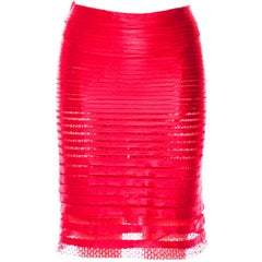 The Most Absolutely Scrumptious Tom Ford SS 2012 Red Tulle Pencil Skirt! IT 40