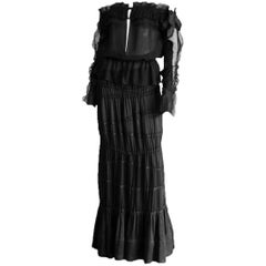 Iconic Tom Ford YSL Rive Gauche FW 2001 Black Silk Runway Blouse & Skirt! FR 42