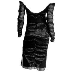 Ridiculously Elegant Tom Ford YSL FW 2004 Silk Chinoiserie Runway Dress! FR 40
