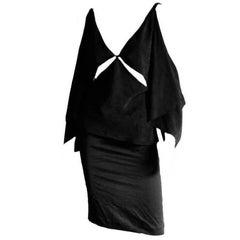 Amazing Tom Ford Gucci FW 2002 Black Silk Gothic Kimono Runway Top & Skirt! 40