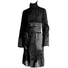 Amazing Tom Ford Gucci FW 2002 Runway Collection Black Silk Kimono Coat & Belt!