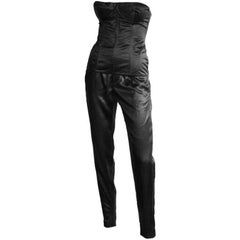 That Gorgeous Tom Ford Gucci SS 2001 Black Silk Runway Corset Top & Pants! IT 42