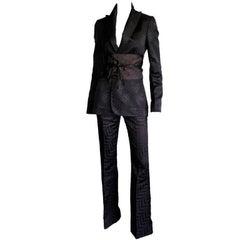 Iconic Tom Ford Gucci FW 2002 Silk Kimono Runway Jacket, Pants & Obi Belt! 40