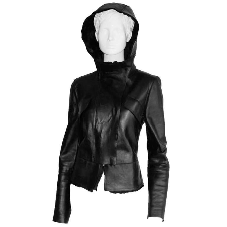 Gorgeous Tom Ford Gucci FW 2004 Black Shearling Jacket With Removable Hood! IT44 2