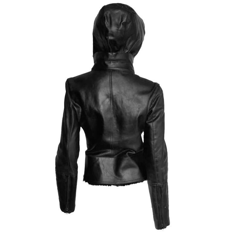 Gorgeous Tom Ford Gucci FW 2004 Black Shearling Jacket With Removable Hood! IT44 3