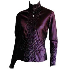 That Utterly Gorgeous Tom Ford YSL Rive Gauche FW2001 Purple Silk Runway Blouse!