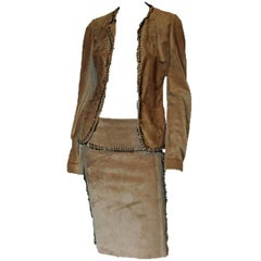 That Iconic Tom Ford YSL Rive Gauche FW 2002 Suede Safari Runway Jacket & Skirt!
