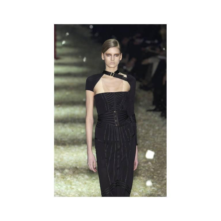 Incredibly Rare & Iconic Tom Ford Gucci FW 2003 Black Silk Corseted Runway Gown 5