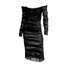 Rare & Iconic Tom Ford YSL Rive Gauche FW2004 Black Silk Runway Dress In Size 42
