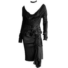Free Shipping: Tom Ford Gucci FW 2002 Black Silk Gothic Runway Blouse & Skirt!