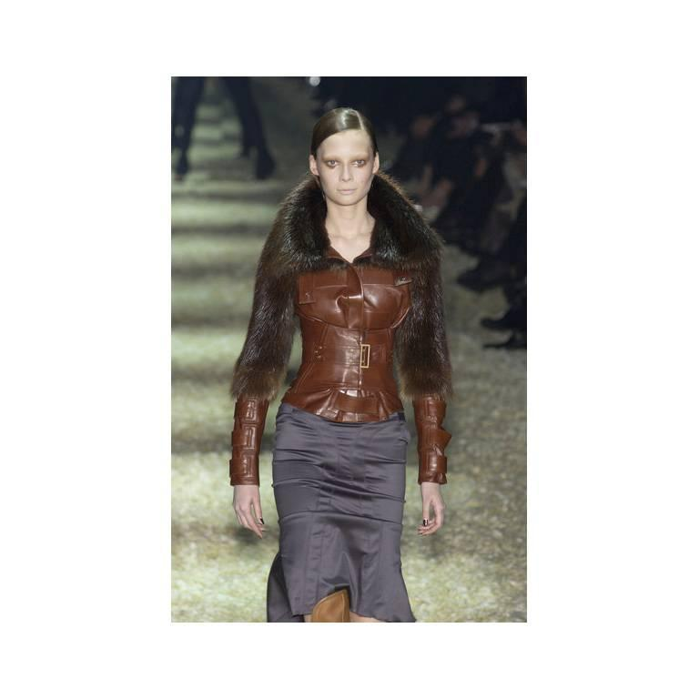 The Dreamiest Tom Ford Gucci FW 2003 Maroon Red Leather Corseted Moto Jacket! 4