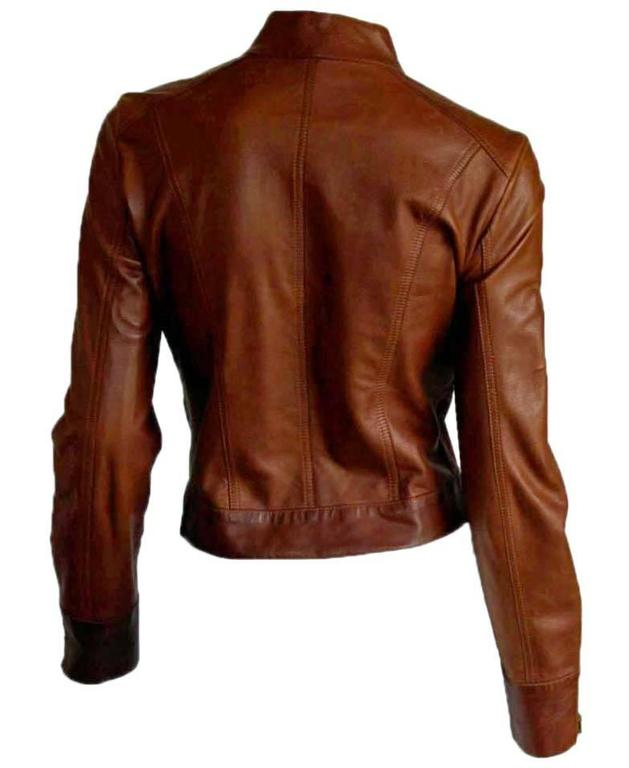 That Gorgeous Tom Ford Gucci SS 1999 Tan Brown Leather Runway Moto Jacket! 2