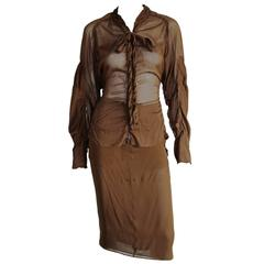 Rare Tom Ford YSL Rive Gauche FW 2002 Silk Safari Runway Jacket & Skirt! FR 40