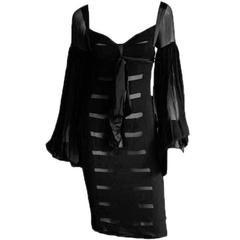 Super Rare & Iconic Tom Ford YSL Rive Gauche FW 2002 Black Silk Runway Dress! 36
