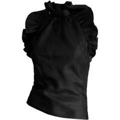 Free Shipping:Rare Tom Ford Gucci FW2000 Silk Taffeta & Leather Backless Blouse!