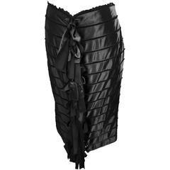 Rare & Iconic Tom Ford YSL Rive Gauche FW 2002 Black Silk Ribbon Runway Skirt!